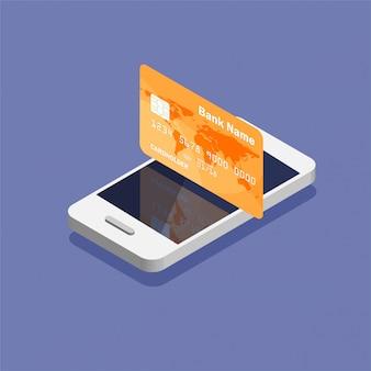 トレンディなアイソメ図スタイルのクレジットカードアイコンを持つスマートフォン。お金の動きとオンライン決済。