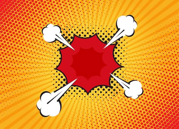 Мультфильм супергероя пузырь диалоговые сцены на желтом фоне. страница записки смешные комиксы с облаком и речи пузырь. верстка комиксов. символы и звуковые эффекты.