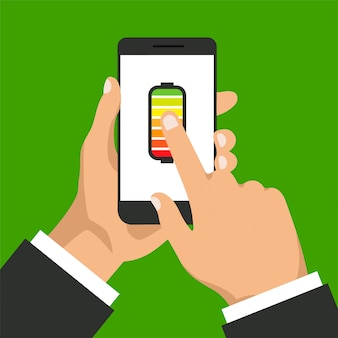 Концепция полной батареи. зарядка смартфона. рука нажимает на дисплей телефона. плоский дизайн. иллюстрации.