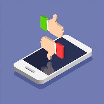 トレンディなアイソメ図スタイルのソーシャルメディア通知アイコンを持つスマートフォン。好きと嫌いでプッシュ通知。色の背景上に分離されての図。