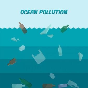 プラスチック廃棄物による海洋汚染。