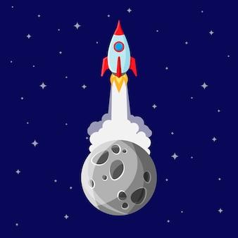 漫画の宇宙ロケットが惑星の軌道を離れ、深宇宙へと向かう。