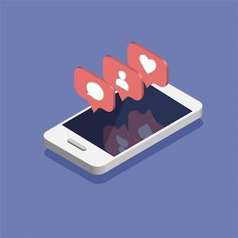 トレンディなアイソメ図スタイルのソーシャルメディア通知アイコンを持つスマートフォン。