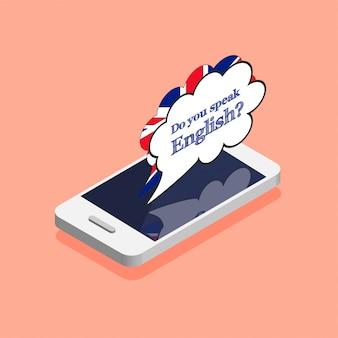 英語の概念を話しますか?オンライン学習。等尺性のトレンディなスタイルのスマートフォンでの吹き出し。