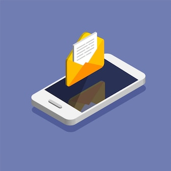 新しい手紙を取得します。スマートフォンとトレンディなアイソメ図スタイルの封筒。