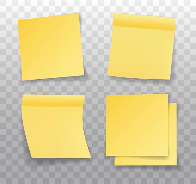 付箋、現実的な黄色い紙のブックマークのセット。影付き紙粘着テープ。