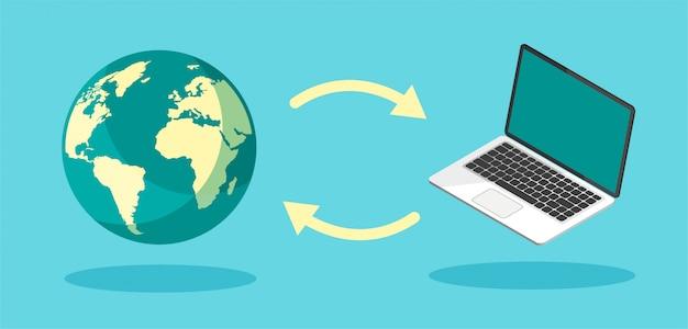 ダウンロードプロセス。インターネットまたはコンピューターへのファイルのアップロード。ファイル転送の概念。