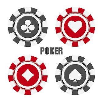 Набор фишек казино. фишка для покера вид сверху. векторные иллюстрации изолированы.