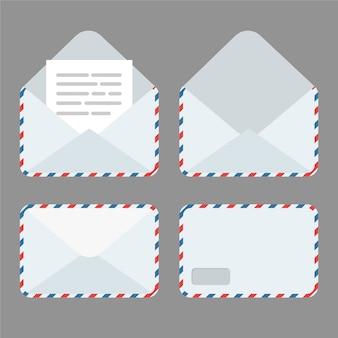 ドキュメントが入った閉じた状態と開いた状態の封筒のセット。新しい手紙を取得または送信します。分離された電子メールアイコン。