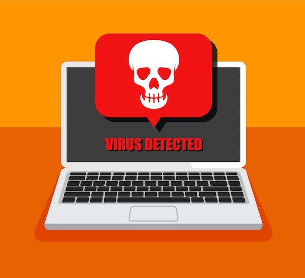 ラップトップとその中のウイルス。メールやコンピュータをハッキングする。ディスプレイ上の頭蓋骨アイコン。海賊版または感染した手紙を受け取る。分離されました。
