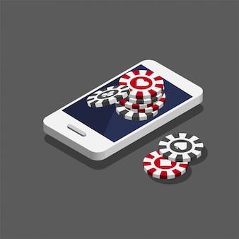 Фишки для покера в казино на смартфоне. концепция онлайн-казино в модном изометрическом стиле.