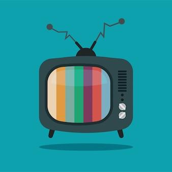 漫画のレトロなカラーノイズテレビ。分離された曲がったアンテナと壊れたテレビ