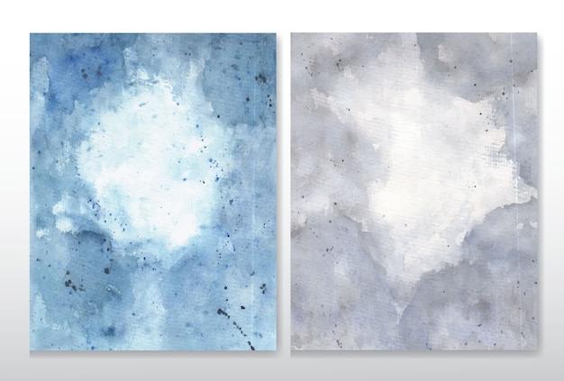 グレーとブルーの抽象的な水彩画の背景のセット