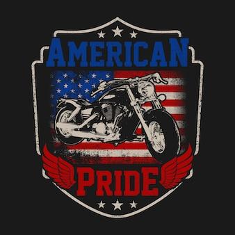 グランジスタイルのイラストレーションアメリカバイカーのプライド