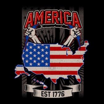 グランジスタイルのアメリカの地図とアメリカの旗