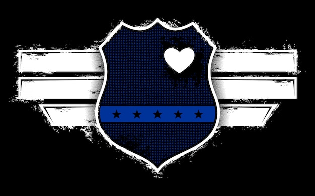 バッジを持つイラスト警察の恋人
