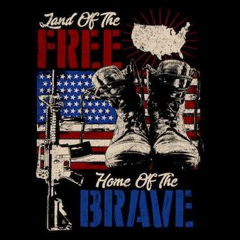 Иллюстрация ботинок и оружие американский ветеран