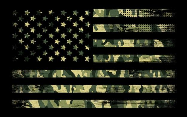 グリーンカモの背景とアメリカの旗