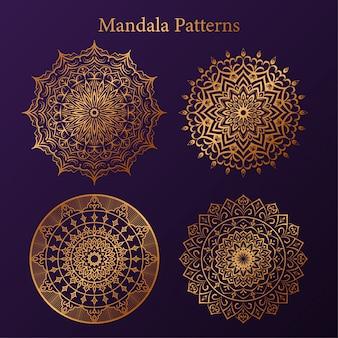 ゴールデンアラベスクパターンアラビアイスラムスタイルマンダラ、高級マンダラパターン、