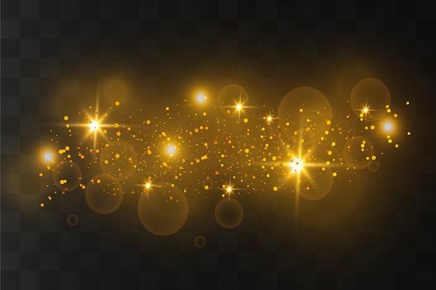 Белые искры и золотые звезды сверкают особым световым эффектом