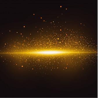 黄色の水平レンズフレアパック。レーザー光線、水平光線。