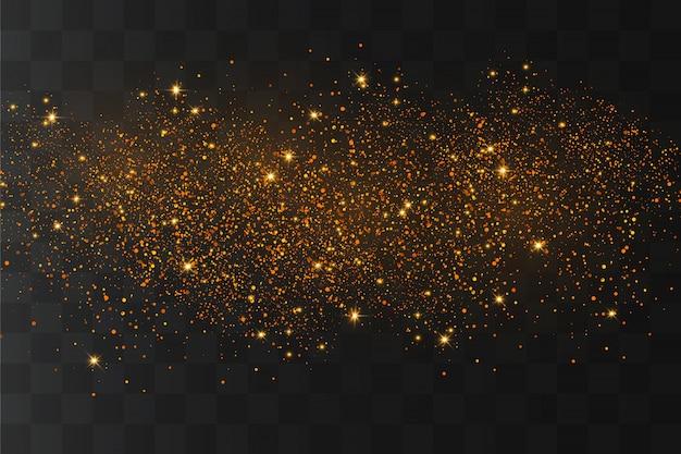 ほこりが輝き、金色の星が特別な光で輝いています。輝く魔法の塵の粒子。