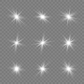 セット、レンズフレア、キラキラ、ライン、太陽のフラッシュ、星。