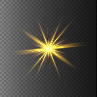 黄色の星、光、レンズフレア、キラキラ、太陽のフラッシュ。