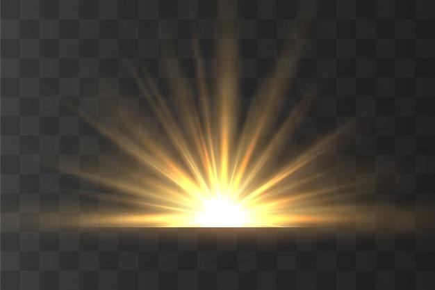 黄色の光線が点灯します。魔法の輝きと太陽光線。