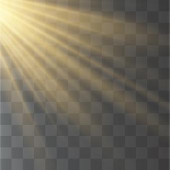 太陽光線、光線と黄色の特殊効果。