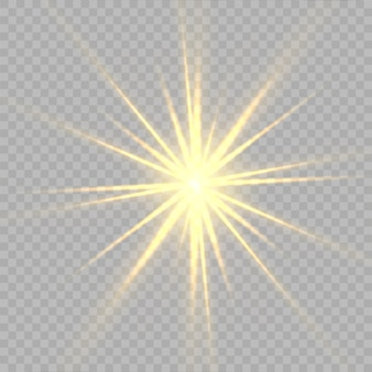 黄色の星、光、レンズフレア、グリッター、太陽の閃光、火花