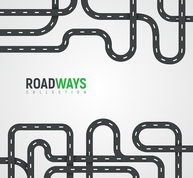 高速道路のコレクション。自動ルートは、旅のベクトルの背景や旅行方法のベクトル図です。