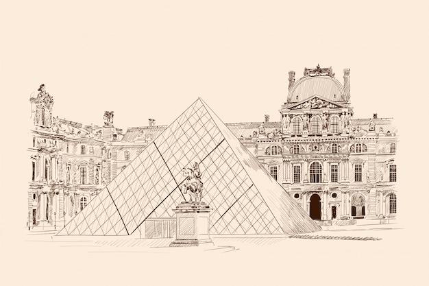 ルーブル美術館、パリ。ベージュ色の背景に鉛筆スケッチ。