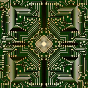 Электронная плата от компьютера зеленого и золотого цвета с микропроцессором в центре.