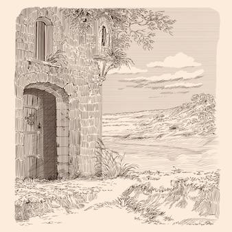 中世の石造りの城と丘陵の風景。ドアは秘密の入り口に開いています。