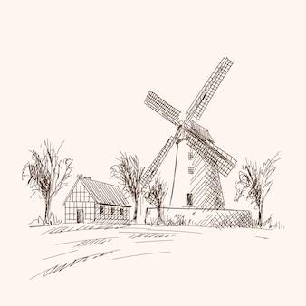 木造住宅と工場のある田園風景。ベージュ色の背景に鉛筆手スケッチ。
