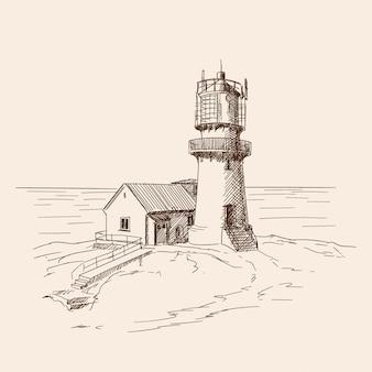 灯台は石の海岸に輝いています。ベクタースケッチ。