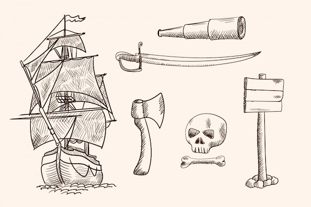 Старый парусный корабль и пиратские предметы. простой ручной рисунок.