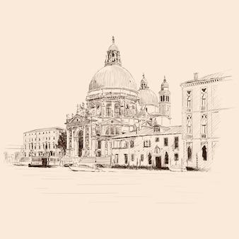 ヴェネツィアの旧市街の風景。古代の建物、聖マリア大聖堂、水路。