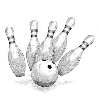 Шар для боулинга разбивает пять кеглей карандашный набросок.