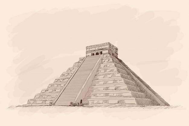 Ацтекская каменная пирамида со ступенями. карандашный рисунок на бежевом фоне.