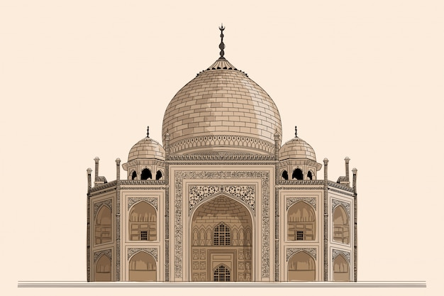 Древний индийский храм мавзолей тадж-махал. опираясь на бежевом фоне.