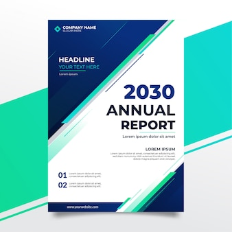 Элегантный дизайн обложки годового отчета с синей формой
