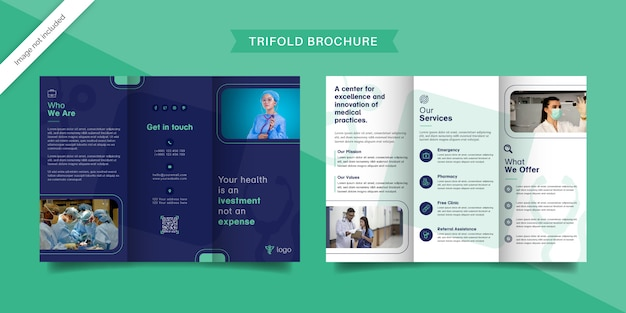 Шаблон медицинской тройной брошюры