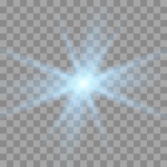 透明な青い白熱光爆発。輝く星。