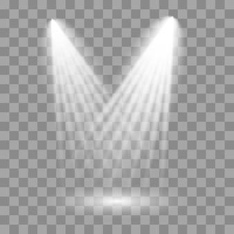 ステージ、シーン、表彰台に白いスポットライトが輝いています。