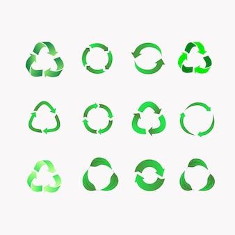 普遍的なリサイクルシンボル。プラスチックをリサイクルします。さまざまなスタイルのリサイクルアイコンのセット