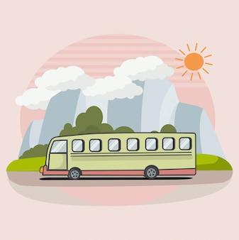 Автобусная поездка плоская иллюстрация