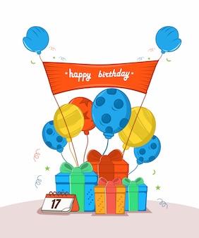 С днем рождения с тремя подарками, шестью воздушными шарами, каландром, расклеивающим плакатом,