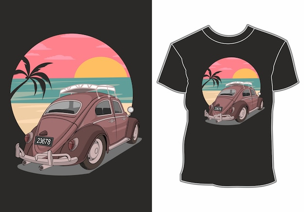 車をテーマにしたシャツのデザインとビーチでの夏休み